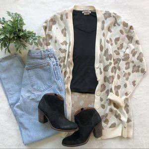 Vanity Leopard Print Button Down Cardigan